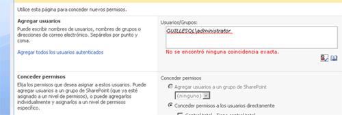 Error al conceder permisos en MOSS a un usuario de un Dominio externo, existente tras un Firewall