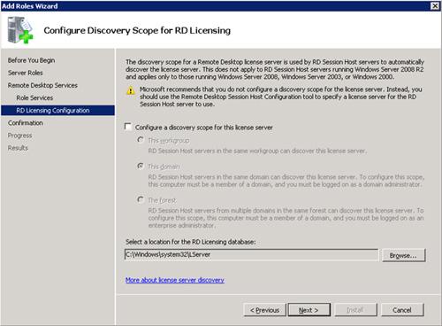 En la pantalla Configure Discovery Scope for RD Licensing, simplemente click Next para continuar. Esta configuración es la recomendada por Microsoft, ya que si habilitamos un Scope de Descubrimiento para este Servidor de Licencias, cualquier máquina podría descubrir automáticamente a nuestro Servidor de Licencias