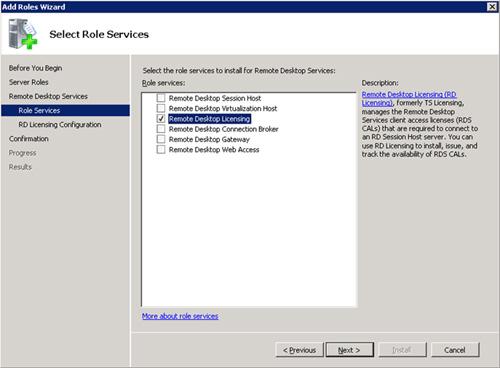 En la pantalla Select  Role Services, seleccionaremos el elemento Remote Desktop Licensing. Click Next para continuar