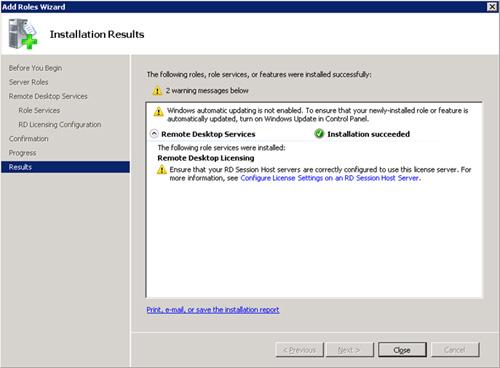 En breves instantes, nuestro Servidor de Licencias (Remote Desktop Licensing) habrá quedado instalado. Click Close