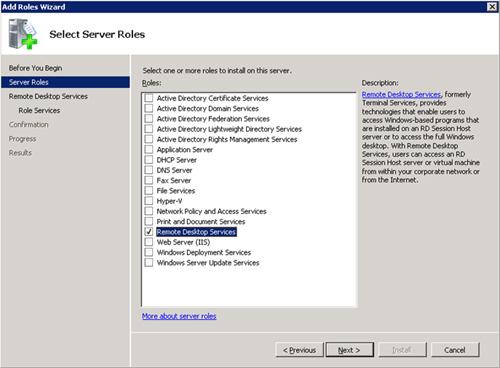 En la pantalla Select Server Roles, seleccionaremos el elemento Remote Desktop Services, y click Next para continuar.