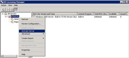 De nuevo, seleccionaremos el Servidor de Licencias que acabamos de instalar, y seguidamente click en la opción Activate Server del menú contextual