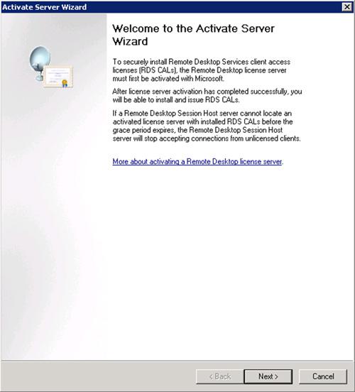 En la ventana de bienvenida del asistente de activación, click Next para continuar