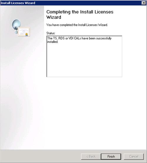 En la pantalla Completing the Install Licenses Wizard, comprobaremos que las licencias han sido instaladas satisfactoriamente, y click Finish