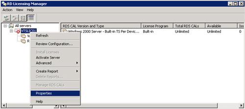 Desde la herramienta administrativa RD Licensing Manager, seleccionaremos el Servidor de Licencias que acabamos de instalar (en nuestro caso de ejemplo, VTSLIC01), y click en la opción Properties del menú contextual