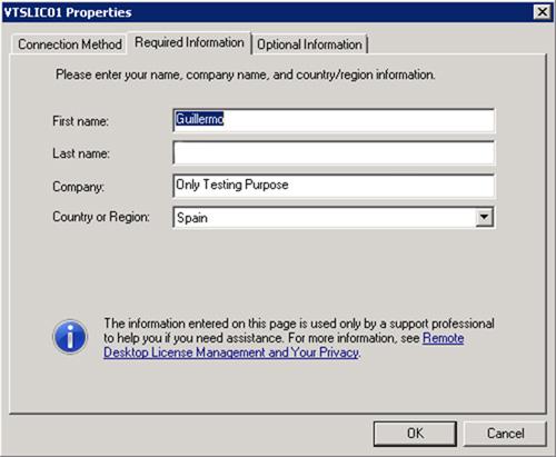 En la pestaña Required Information del diálogo de propiedades, especificaremos los datos solicitados. Click OK
