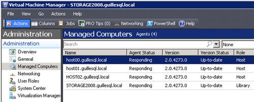 Si accedemos a la pantalla de Managed Computers, aparentemente parece que VMM no se ha enterado que hemos subido de versión. Como se muestra en la siguiente pantalla capturada, están todas las máquinas gestionadas en versión 2.0.4273.0, y aún así se muestran Up-to-date.