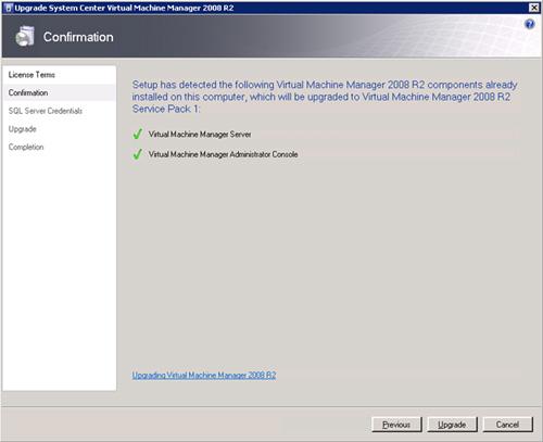 El instalador detectará que tenemos montado tanto el servicio de gestión (VMM Server) con la consola de gestión (VMM Administrator Console). Click Upgrade para iniciar la actualización.