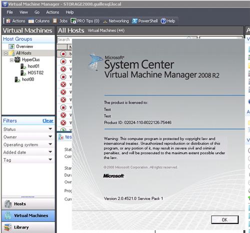 Ahora, podemos abrir la consola de gestión (VMM Administrator Console). En la pantalla de Splash, podemos comprobar la versión de producto, y así evidenciar que tenemos correctamente actualizada nuestra consola (Version 2.0.4521.0 Service Pack 1).
