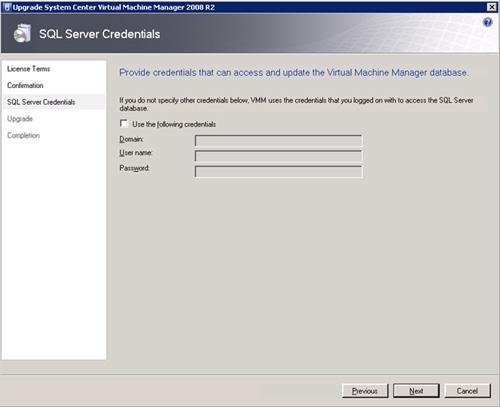 En la pantalla SQL Server Credentials, se nos solicitará credenciales para poder actualizar la base de datos de Virtual Machine Manager. En nuestro caso de ejemplo, el usuario utilizado con el que estamos realizando la actualización, tiene permisos de SysAdmin en la instancia SQL Server que almacena la base de datos de Virtual Machine Manager, por lo que simplemente, click Next para continuar.