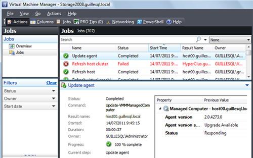 Esto generará un Job en Virtual Machine Manager (algo previsible, en VMM casi todo son Jobs), el cual, una vez completado, habrá dejado actualizado el Host indicado.