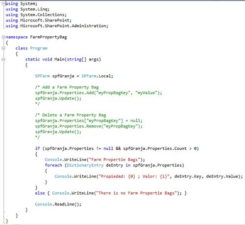 La forma más habitual de trabajar con las Property Bag es a través de código