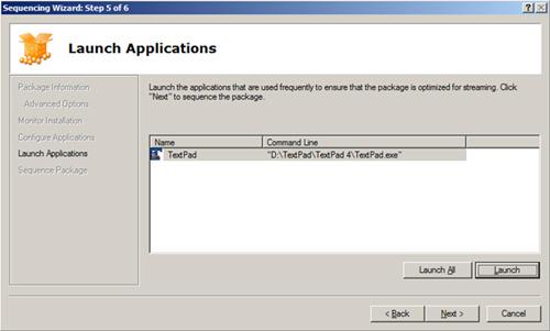 En la pantalla Launch Applications, puede realizarse una muestra de uso de la aplicación, como la utilizaría un usuario final, con el objetivo de conseguir optimizar el paquete para su envío a través de Streaming
