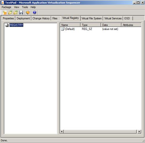 La pestaña Virtual Registry