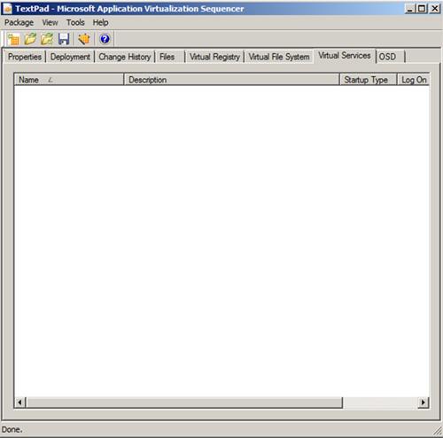La pestaña Virtual Services
