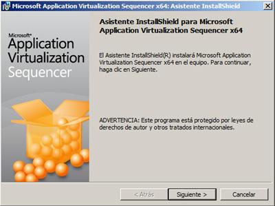Pantalla de bienvenida del asistente de instalación del App-V Sequencer 4.6 x64