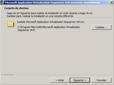 Elegiremos la carpeta sobre la que deseamos instalar el App-V Sequencer