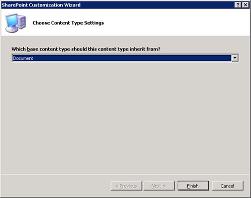 En el asistente de creación del nuevo Tipo de Contenido (Content Type), seleccionaremos Document como tipo base.
