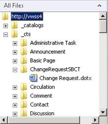 Realizado esto, habremos acabado nuestro trabajo. Ahora ya sólo nos queda compilar y desplegar nuestro proyecto de Visual Studio, tras lo cual, si nos conectamos con SharePoint Designer 2010, podremos ver que efectivamente existe una subcarpeta para nuestro Tipo de Contenido por debajo de _cts, la cual contiene el fichero de Plantilla de Documento que hemos desplegado a través de nuestra Solución Sandboxed.