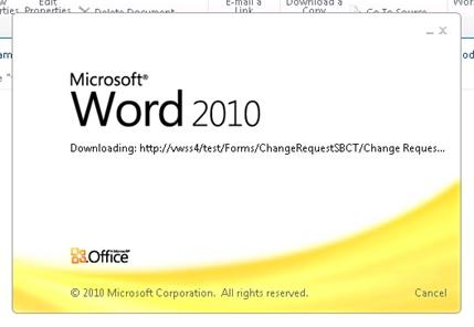 Y ahora llega la prueba del algodón. En SharePoint, crearemos un nuevo elemento del tipo ChangeRequestSBCT, y… tata-chán ! funcioná! Se abre el Word e inmediatamente se descarga nuestra Plantilla de Documento.