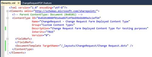 Modificaremos el  fichero Elements.xml del nuevo Tipo de Contenido (Content Type) para poner la descripción que deseemos, y muy importante, añadiremos un tag DocumentTemplate para especificarle al Tipo de Contenido la Plantilla de Documento que deseamos utilizar al crear nuevos documentos, para lo cual indicaremos la URL de la plantilla de documento que vamos a desplegar por debajo de /_layouts.