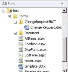 Sin embargo, para probar bien nuestra Solución Sandboxed, deberemos crearnos una Librería de Documentos, y asociarla el Tipo de Contenido (Content Type) que acabamos de crear y desplegar. Así que, crearemos una Librería que llamaremos Test, y la asociaremos nuestro nuevo Tipo de Contenido (Content Type) tal y como se muestra en la siguiente pantalla capturada. Nótese, que en la carpeta Forms por debajo de nuestra Librería, existe una subcarpeta para nuestro Tipo de Contenido que contiene una copia de la Plantilla de Documento.