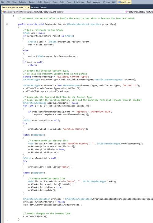 En el evento FeatureActivated, escribiremos el código necesario. En nuestro caso, aprovecharemos este evento para crear un Tipo de Contenido y asociarle un Workflow, teniendo en cuenta que deberemos especificar las listas de Historial y de Tareas del Workflow (incluso crearlas si fuera necesario).