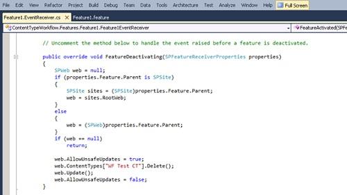 Del mismo modo, en el evento FeatureDeactivating, escribiremos el código necesario. En nuestro caso, aprovecharemos este evento para eliminar el Tipo de Contenido creado anteriormente al activar la Característica.