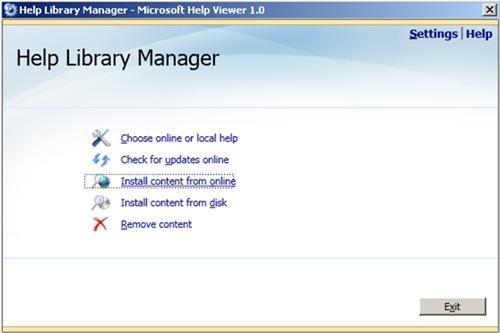 En la pantalla Help Library Manager, click en la opción Install content from online