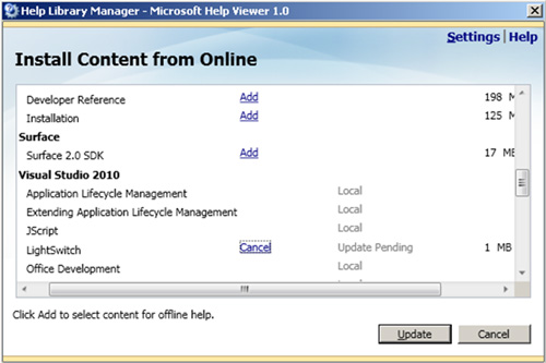 En la pantalla Install Content from Online, seleccionar algún elemento para instalar. Click Update.