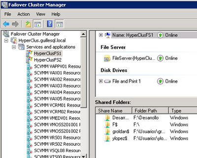 Finalizada la recuperación del Cluster, deberemos reiniciar el servicio de Cluster en cada uno de los Nodos