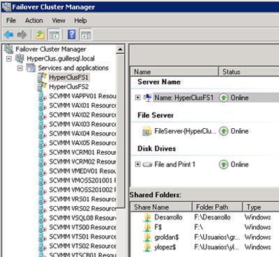 En nuestro caso de ejemplo para restaurar la configuración de un Cluster, utilizaremos el siguiente Failover Cluster de Windows Server 2008 R2 utilizado para Hyper-V y para compartir carpetas (Shared Folders)