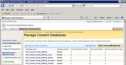 Entonces, ¿Qué podemos hacer? Pues nos queda la segunda de las alternativas, la cual consiste en limitar el número máximo de Colecciones de Sitios que puede hospedar cada una de las Bases de Datos de Contenido, al valor del número actual de Colecciones de Sitios que hospeda cada Base de Datos de Contenido. Recordemos que el valor de Maximum number of Sites se refiere a cuantas Colecciones de Sitios se pueden almacenar en la Base de Datos de Contenido (y lo mismo ocurre con el valor de Current number of Sites). Lo sé. Es muy frustrante la forma en que se confunden los términos de Site, SubSite, Site Collection, y/o Top-Level Site, tanto en las herramientas gráficas como en la documentación, pero es lo que hay, así que, simplemente tengamos en cuenta que el valor de Maximum number of Sites se refiere al número de Colecciones de Sitios o Sitios de Primer Nivel. De este modo, sí que podemos tener todas nuestras Base de Datos de Contenido en estado OnLine/Started, como se muestra en la siguiente pantalla captura.