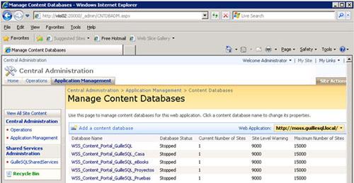 Por ver las cosas de una forma más gráfica, estamos hablando de tener todas las bases de datos OffLine/Stopped, tal y como se muestra en la siguiente pantalla capturada