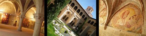 Detalles de la Abadía Cisterciense de Santa María de Valbuena, de la Cocina, el Claustro, y pinturas de los pasillos del Claustro.