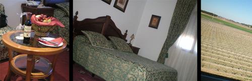 Detalle de una habitación del Hotel Arzuaga 5 estrellas: A la izquierda detalle de la esquinera con la cesta de frutas, vino Arzuaga Crianza y copas reposando sobre la mesa. En el medio, detalle de cama de matrimonio, y a la derecha un detalle de las vistas disponibles desde la habitación.