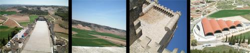 Castillo de Peñafiel: Vista desde la torre central (en la que se aprecia la forma de barco del castillo), vistas de la Ribera del Duero desde el castillo, vista de la torre desde la parte inferior del castillo, y vista de las nuevas bodegas Protos desde arriba de la torre del Castillo de Peñafiel.