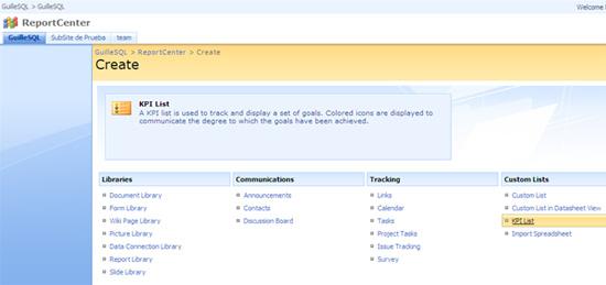 Creación de una Lista KPI en MOSS 2007