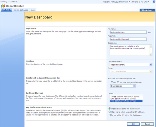 Detalles de la creación de un nuevo Dashboard en MOSS 2007