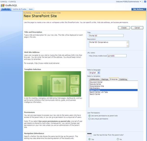 Crear un nuevo sitio con la plantilla de Report Center en MOSS 2007