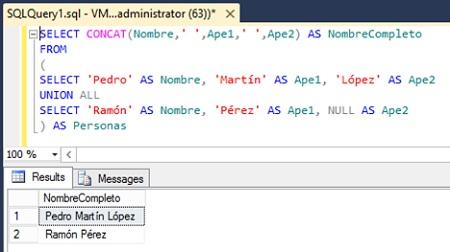 Ejemplo de uso de la función CONCAT en SQL Server 2012