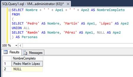 Utilizando el operador de concatenación en SQL Server