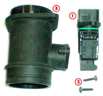 Caudalímetro BOSCH despiezado. La pieza 1 es el Caudalímetro en sí, que va atornillado a la pieza 3 (un simple tubo de plástico) mediante los tornillos TORX (ojo, que no son tornillos normales !) identificados con el número 2 (luego hablaremos más de los tornillos y llaves TORX ó TORC). Si nos fijamos en la Pieza 1 (el Caudalímetro), la parte superior es el conector a la Centralita del vehículo, mientras que la parte inferior es el propio sensor, que es introducido dentro del tubo de plástico (Pieza 3). Del mismo modo, si nos fijamos en la Pieza 3, la parte superior va atornillada (con tornillos de estrella de los de toda la vida) a la salida del filtro del aire del vehículo, mientras que la parte inferior va conectada al tubo de entrada de aire al motor, en este caso sujeto por una brida metálica (será necesario un alicate grande para poder aflojar dicha brida).