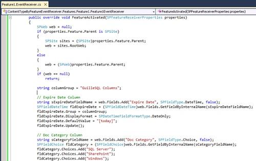 A continuación se muestra un pantallazo con parte del código fuente utilizado para la creación del Tipo de Contenido en el evento de Activación de una Característica.