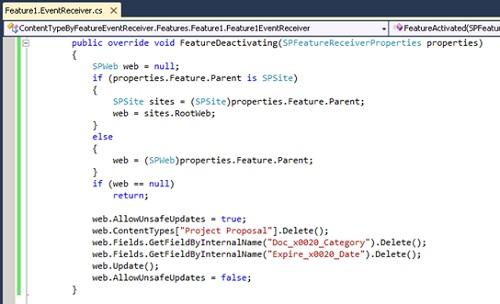 La siguiente pantalla capturada muestra el código utilizando para eliminar el Tipo de Contenido al Desactivar dicha Característica (Feature).