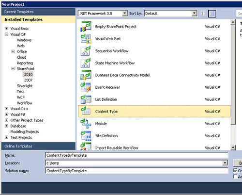 Abriremos Visual Studio 2010 y crearemos un proyecto de tipo Content Type para SharePoint 2010. Téngase en cuenta, que también es posible crear un nuevo proyecto de tipo Empty SharePoint Project, y seguidamente agregar un nuevo ítem de tipo Content Type. El resultado será el mismo.
