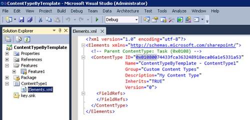 Realizado esto, habremos creado nuestro Proyecto de Visual Studio, con nuestro Content Type asociado a una Característica (Feature). A partir de aquí, el trabajo que realizaremos será modificando la descripción XML de nuestro Content Type, empezando por las propiedades que describe el Nombre, Grupo y Descripción de nuestro Tipo de Contenido. Es muy importante fijarse en la propiedad ID, un valor hexadecimal que contiene el ID del Tipo de Contenido Padre (0x0108 corresponde a Task) seguido de dos cero y de un valor hexadecimal de 16 bytes (cuál GUID).