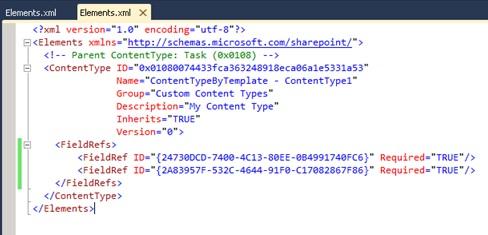 Volvemos al Elements.xml de nuestro Content Type, para  realizar varias modificaciones. Básicamente, añadiremos dos nuevas columnas (Approve y Approve Description).
