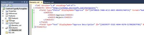 Para continuar, añadiremos un par de Columnas de Sitio. Para no repetir lo mismo que ya hemos visto en otras ocasiones, añadiremos las mismas dos columnas que añadimos en el anterior Post Cómo crear Columnas de Sitio con Visual Studio 2010 en SharePoint 2010,en particular las columnas Approve y Approve Description del ejercicio Crear Columnas de Sitio incluyendo la descripción XML de columnas en el Elements.XML, tal y como se muestra en la siguiente pantalla capturada.