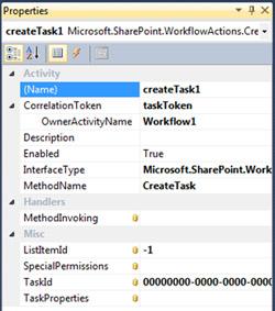 En las Propiedades de la actividad createTask1, especificaremos el valor de la propiedad CorrelationToken como taskToken, y seguidamente especificaremos el valor de la propiedad OwnerActivityName como Workflow1, tal y como se muestra en la siguiente pantalla capturada
